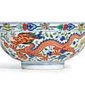 A fine wucai 'dragon and phoenix' bowl, seal mark and period of daoguang (1821-1850)