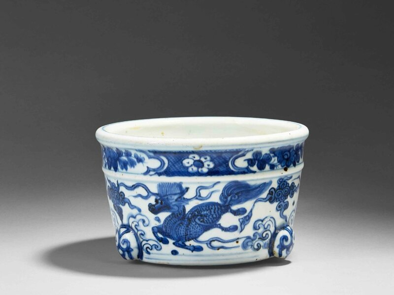 A blue and white porcelain tripod censer, China, Ming dynasty, Wanli period (1573 - 1620)