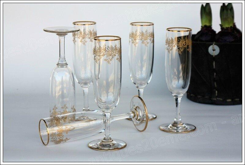 Flûtes à champagne en cristal Baccarat Récamier
