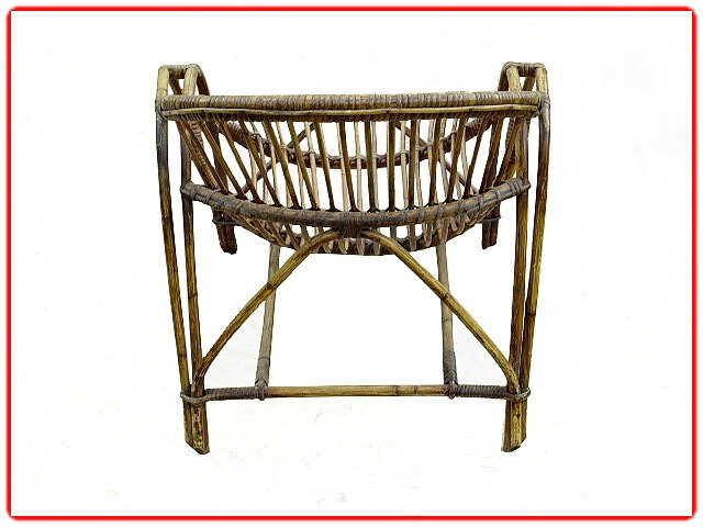fauteuil rotin coquille 1960