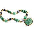 A enamel, diamond and jade long chain by david webb, circa 1970
