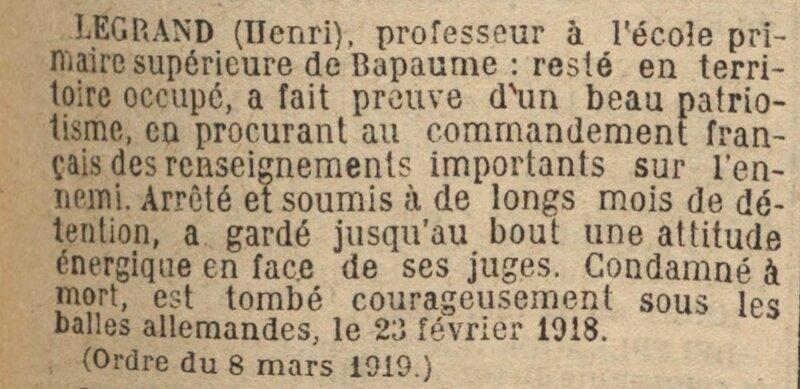 JO 19190620 LEGRAND Henri