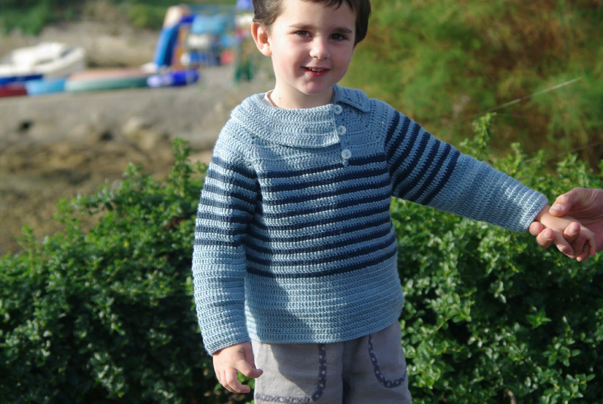 pull rayé au crochet pour garçon