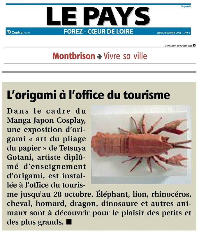 Le pays article de journal 22 oct 2015 Expo Origami Tetsuya Gotani Montbrison