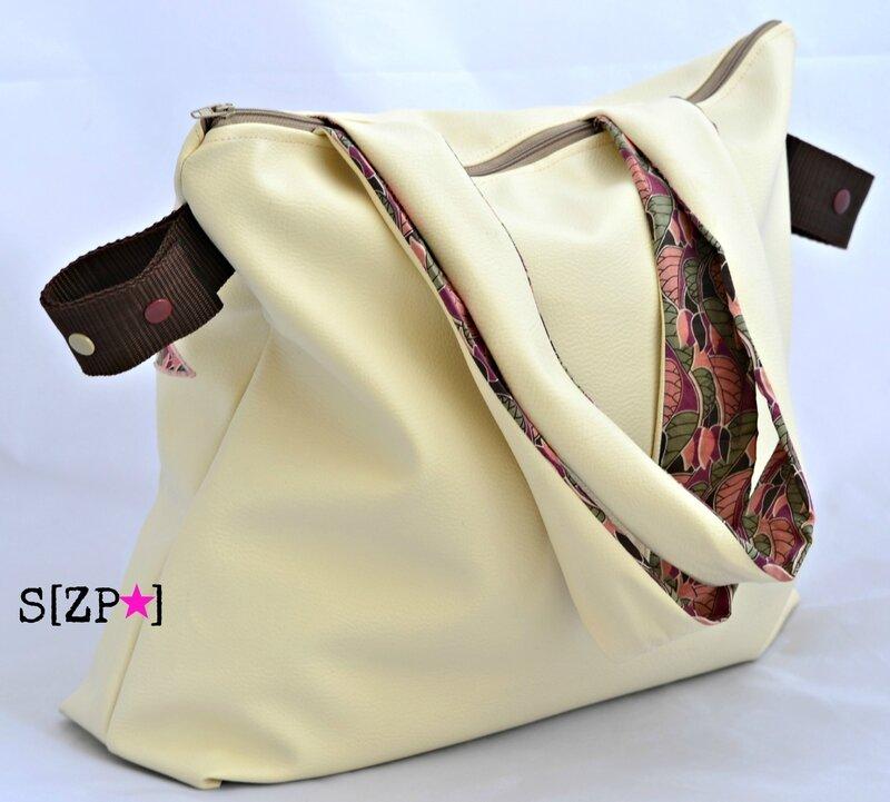sac à poussette guidon et canne Liberty Venus leaf et simili cuir beige