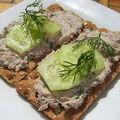 Tartinade de sardine au fromage blanc sur craquelin wasa