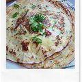 Crêpes courgettes oignons et pancetta