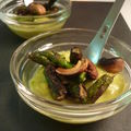 Verrines mousse d'asperges, asperges croquantes et noix de cajou