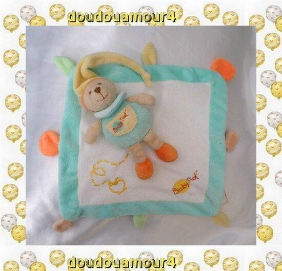 Doudou Plat Carré Et Ours BabyNat Blanc Et Bleu Bonnet Jaune