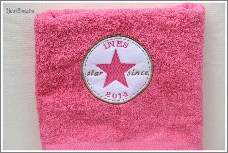 serviette douche rose Ines