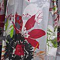 Ciré AGLAE en coton enduit gris imprimé fleuri rouge-vert-noir-orange fermé par un noeud dans le même tissu (1)