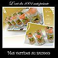 Verrines de saumon/fromage frais/concombre