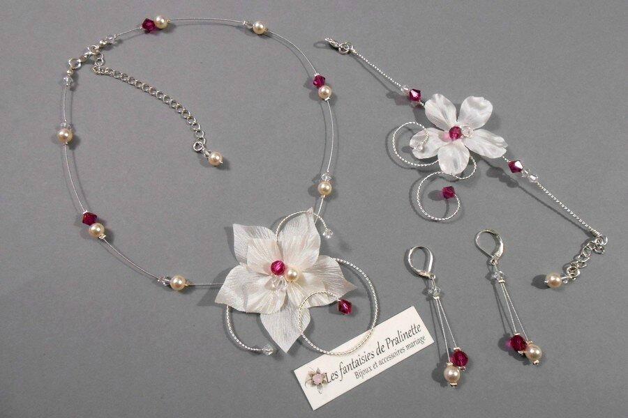 bijoux-mariage-personnalises-ivoire-et-fuchsia-fleurs-en-soie