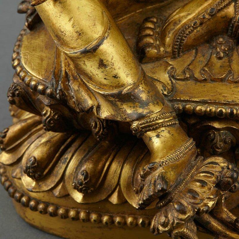 Sino-Tibetan Gilt-Bronze Seated Avalokesvara6
