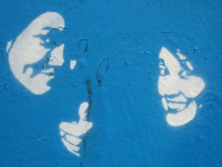 Pochoir bleu
