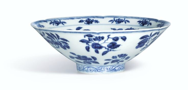 A fine and rare blue and white lobed bowl, Mark and period of Xuande2