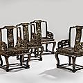Ensemble de quatre fauteuils en bois laqué et incrusté de nacre et poussière de nacre, chine, dynastie qing, xviie-xviiie siècle