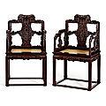 A rare pair of zitan master's armchairs, taishiyi, qing dynasty, qianlong period (1736-1795)