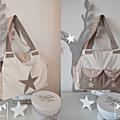 VENDU - grand sac à langer bébé fashion moderne nombreux rangements poches thème étoiles cappuccino crème beige
