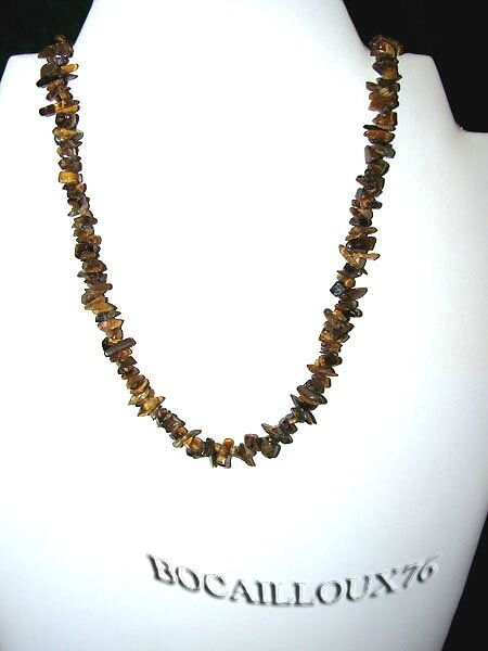 COLLIER OEIL DE TIGRE 12 CHIPS