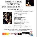 Notre prochain concert: la passion selon saint jean