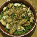Aiguillettes de poulet aux pignons dorés