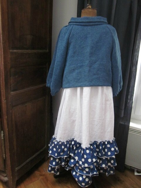 Veste BLANCHE en lin épais bleu façon jeans - fermée par un bouton de nacre (9)