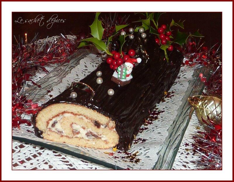 Bûche au chocolat au rhum et aux raisins