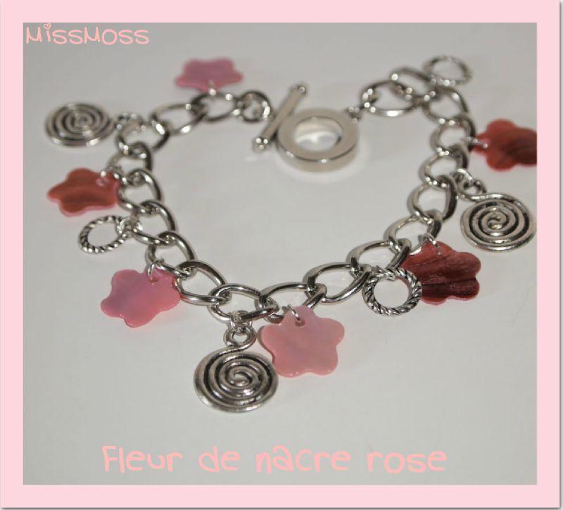 Bracelet fleur de nacre rose12