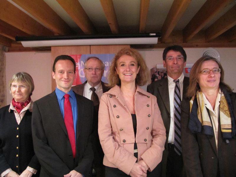Sophie AUCONIE, députée européenne; Ludovic ASSIER, Président de la fédération; Patrick LINDET, délégué départemenal; les 3 conseillers nationaux : Ghislaine MARSE-GUERRA, Dominique VIGNOT et Eugène-Loïc ERMESSENT.