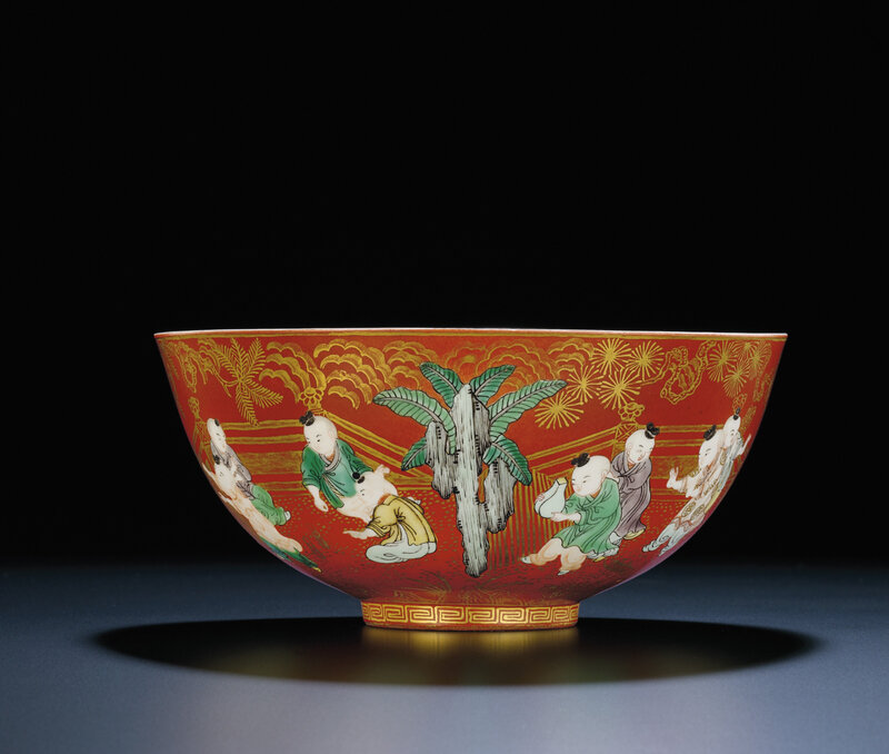 A fine large coral-ground famille verte 'boys' bowl, Jiaqing six-character sealmark and of the period (1796-1820)