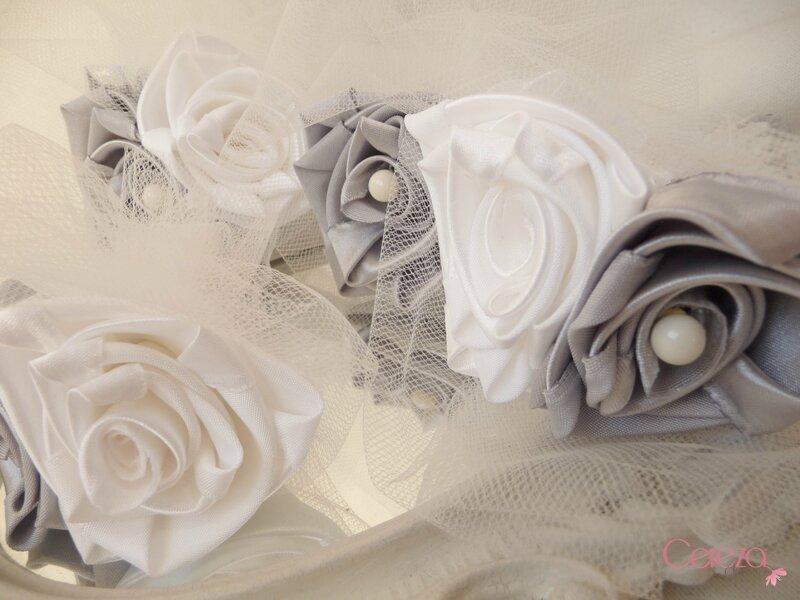 boutonnières de mariage éternel original tissu satin ivoire gris argent cereza deco 5