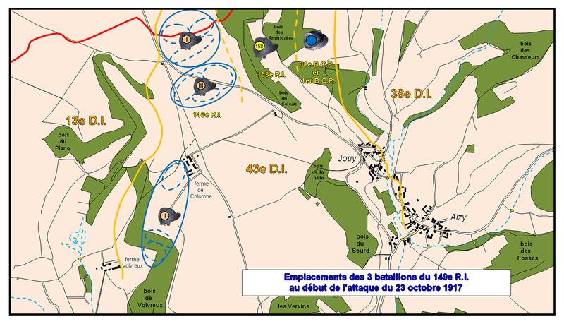 Carte 1 emplacements des 3 bataillons du 149e R