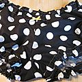 Culotte BIANCA en coton noir à grosses pastilles blanches - noeud jaune (2)