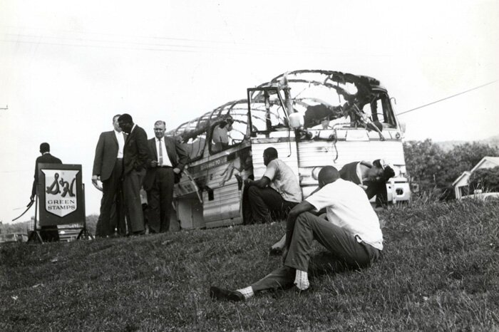 Joseph Postiglione, Freedom Riders' bus after attack in Anniston, Alabama, 1961. Courtesy of Birmingham Civil Rights Institute.