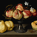 Fede galizia, a glass compote with peaches, jasmine flowers, quinces, and a grasshopper