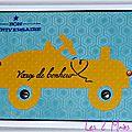 carte d'anniversaire garçon avec voiture jaune