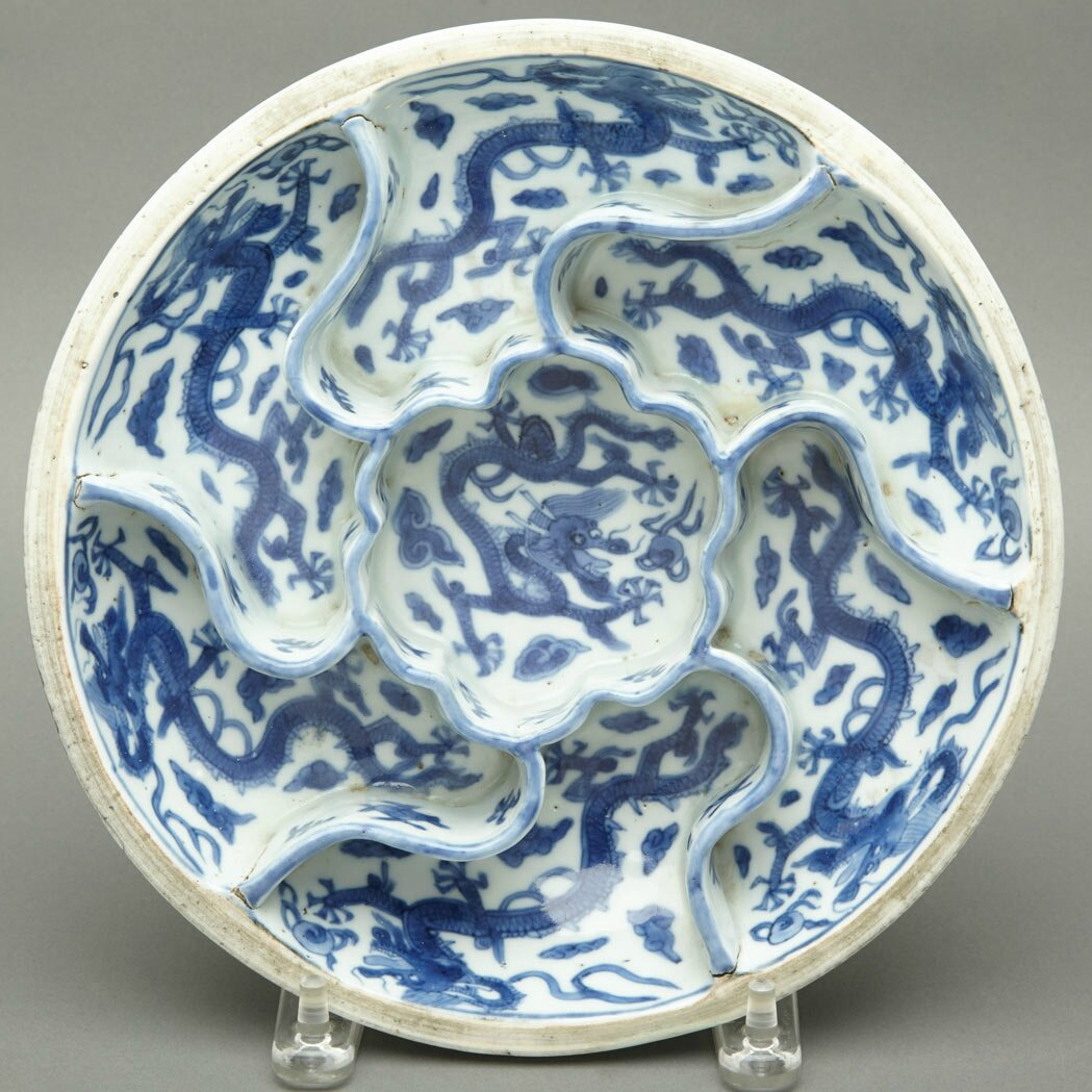 Blue and White Glazed Porcelain Sweetmeat Dish, Wanli Six-Character Mark and of the Periodod