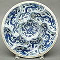 Blue and White Glazed Porcelain Sweetmeat Dish, Wanli Six-Character Mark