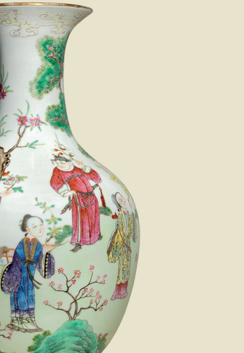 A rare and finely paintedfamille rose'flower spirits' baluster vase, Daoguang six-character seal mark in iron-red and of the period (detail)