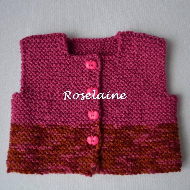 Roselaine gilet point mousse 2