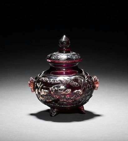 An unusual Peking purple-glass Incense Burner and domed cover, 18th century. Photo Bonhams