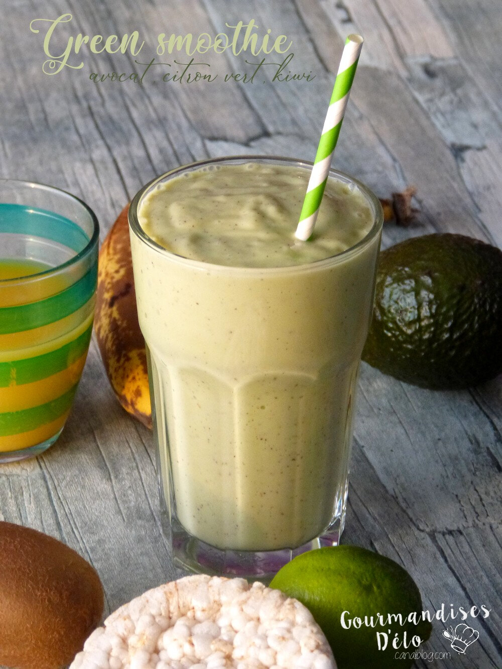 Green smoothie : Avocat, citron vert, kiwi