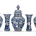A japanese blue and white five-piece garniture, edo period, 18th century
