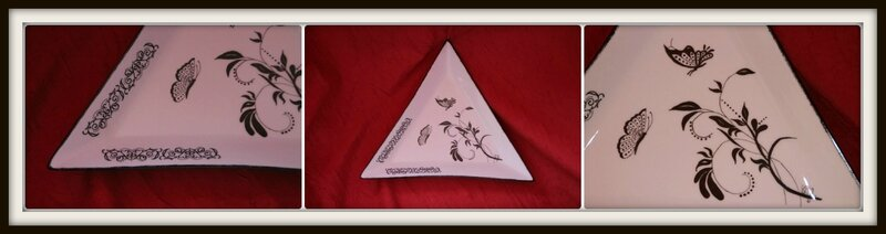 Assiette triangle papillons