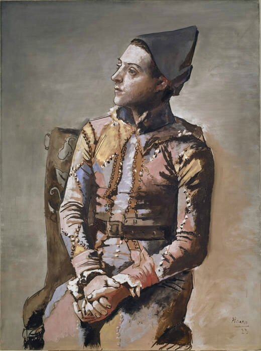 Seated Harlequin (Arlequin assis), Pablo Picasso, Oil on canvas, 130