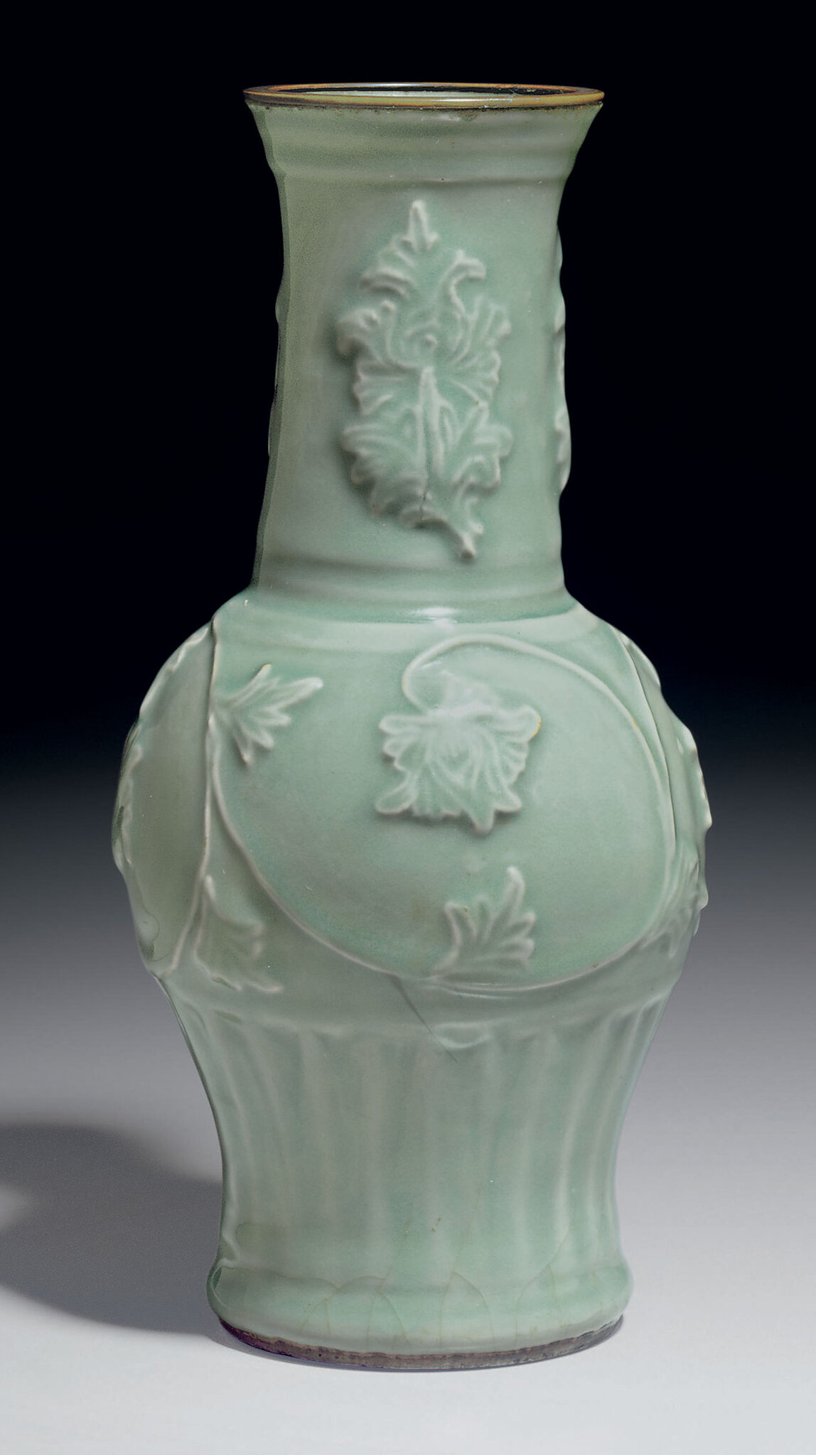 A molded Longquan celadon baluster vase, Southern Song-Yuan dynasty, 12th-13th century