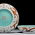 A pair of finely enamelled 'dragon' dishes, shen de tang hallmark in iron red, daoguang period (1821-1850)