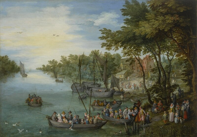 Jan Brueghel the Elder, A Wooded River Landscape with a Landing Stage, Boats, Various Figures and a Village Beyond, 1614