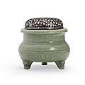 A very rare yaozhou tripod censer, northern song-jin dynasty, 12th-13th century